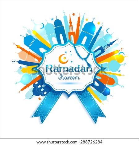 Ramadan Kareem frame with mosque. Vector abstract background. - stock vector