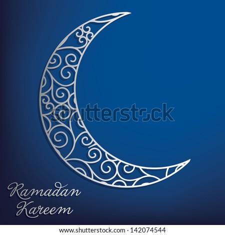 Ramadan Kareem (Generous Ramadan) filigree moon card in vector format. - stock vector