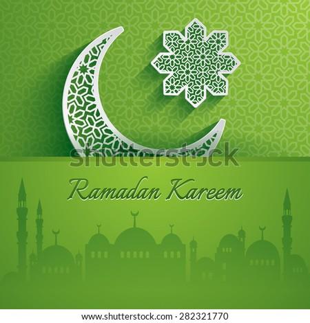 Ramadan Kareem. Greeting card. - stock vector