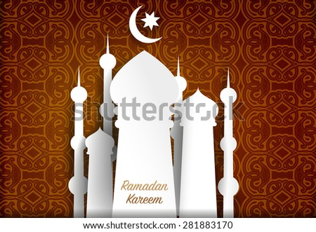 Ramadan Kareem Greeting card background - stock vector