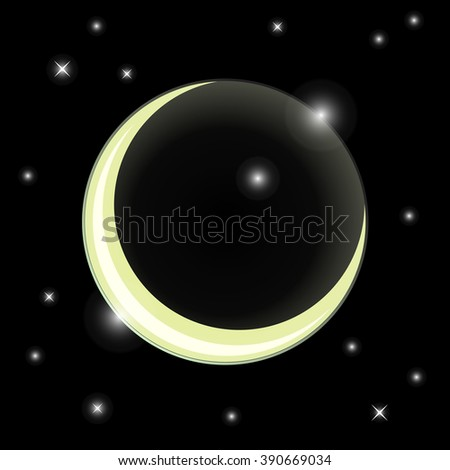 Ramadan Kareem greeting card. Cartoon moon in starry sky. Crescent vector illustration. Cosmic background.