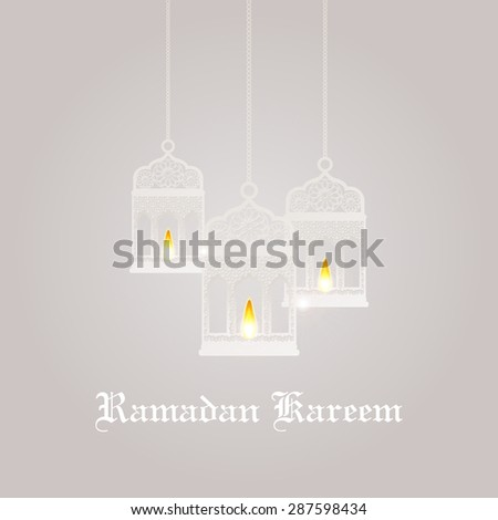 Ramadan Kareem greeting card / Vector template greeting card with intricate Arabic lamp  - stock vector