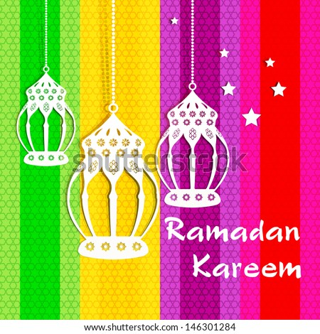 Ramadan Kareem greeting card / Vector template greeting card with intricate arabic lamp on colorful Islamic pattern Background / paper craft style  - stock vector