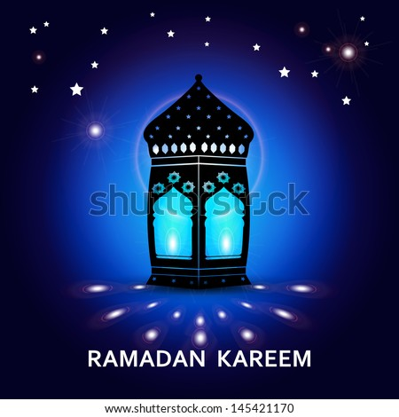 Ramadan Kareem greeting card / Vector template greeting card with intricate arabic lamp on creative blue background  - stock vector