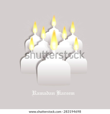 Ramadan Kareem greeting card / Vector template greeting card with intricate oil lamp / paper craft style   - stock vector