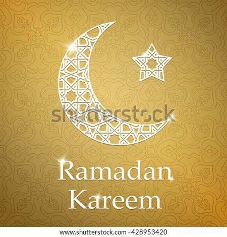 Ramadan Kareem greeting card with half moon and star, gold color vector illustration - stock vector