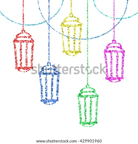 Ramadan Kareem greeting with golden lantern. Golden sand of stars and moon. Vector sketch illustration.