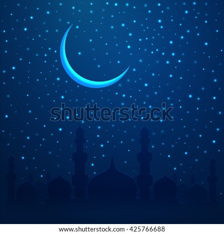 Ramadan Kareem greeting with mosque on night cityscape background. Vector illustration.