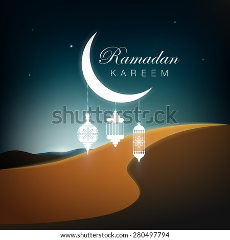 Ramadan Kareem greetings background. Vector illustration - stock vector
