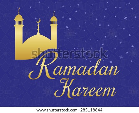 Ramadan kareem greetings poster with gold mosque on violet background with ornaments - stock vector