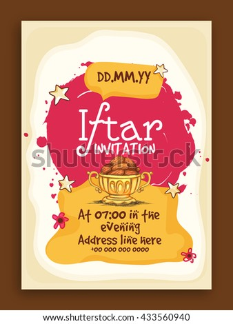 Ramadan kareem iftar party invitation card stock vector 433560940 ramadan kareem iftar party invitation card design with illustration of delicious dates stopboris Images