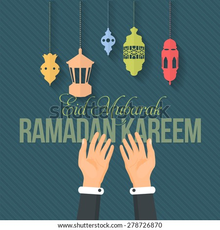 "Ramadan Kareem - Islamic Holy Nights Theme Design Background, Praying Hands - Arabic ""Eid Mubarak"" ""be Blessed"" at English - stock vector"