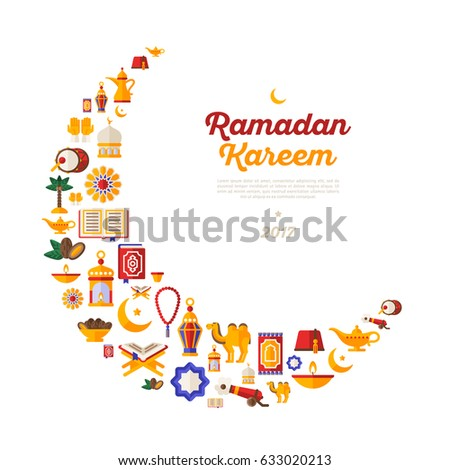 Ramadan Kareem Moon With Flat Arabic Icons Isolated On White Background Vector Illustration Quran