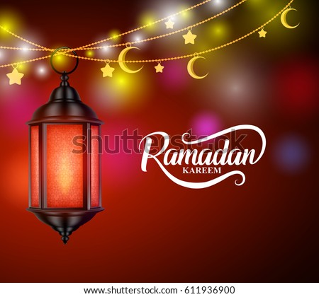 Ramadan kareem muslim greetings vector design with hanging lantern or fanoos and crescent moon in decorated colorful background. Vector illustration.