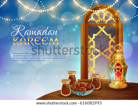 Ramadan kareem muslim holy month traditional festive food and light guirlande decorative background realistic poster vector illustration