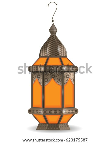 Ramadan Kareem realistic 3d lantern, isolated on white background. Vector illustration