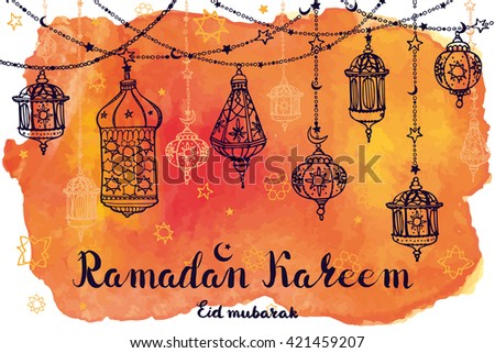 Ramadan Kareem Traditional lantern garland.Doodle greeting card with Watercolor  splash,lettering