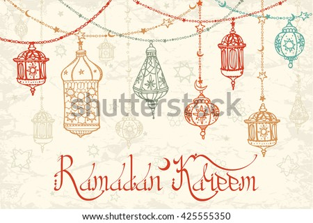 Ramadan Kareem Traditional lantern garland.Vector Doodle greeting card .Holy month of muslim community.Ramazan Hand drawing hanging arabic lamp,star,moon background. Holiday  lettering