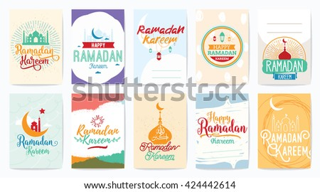 Ramadan kareem. Vector typographic design set with calligraphy and lettering. Usable for greeting cards, print and clothing. - stock vector