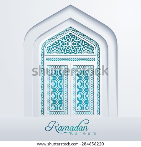 Ramadan Kareem White Mosque Door Geometric Pattern - stock vector
