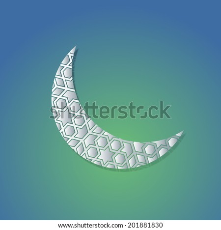 Ramadan moon graphic- paper cut effect - stock vector