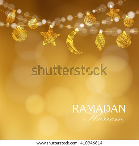 Ramadan moon, stars. Party decoration. Golden festive glitter blurred web background. Greeting card, invitation for muslim holly month Ramadan Kareem. vector - stock vector