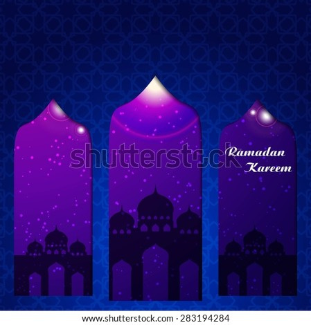 Ramazan Kareem Greeting card / Mosque and crescent moon with stars Ramazan Kareem on blue night Islamic pattern Background  - stock vector