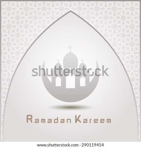 Ramazan Kareem Greeting card / Mosque with  Islamic pattern Background  - stock vector
