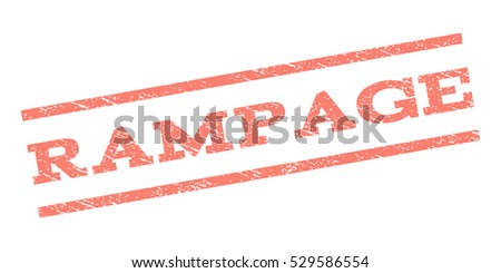 Rampage watermark stamp. Text caption between parallel lines with grunge design style. Rubber seal stamp with dirty texture. Vector salmon color ink imprint on a white background.