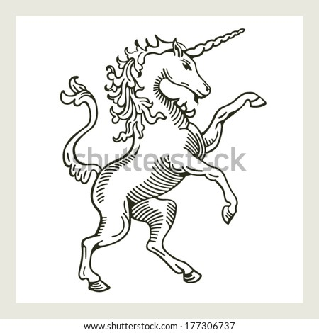 Rampant Unicorn A illustration of a rampant (standing on hind legs) unicorn