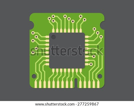 Random-access memory (RAM), flat design, vector illustration