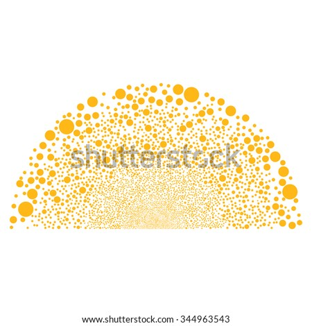 Random Ball Dome vector illustration. Style is yellow flat circles, white background.