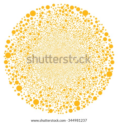 Random Circle Sphere vector illustration. Style is yellow flat bubbles, white background.