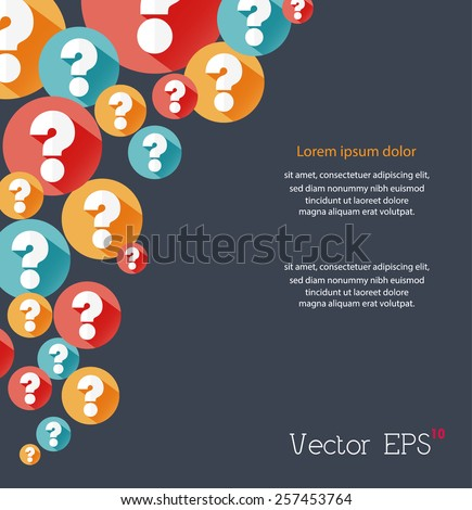 Random colorful flat question marks background. Vector eps10. - stock vector
