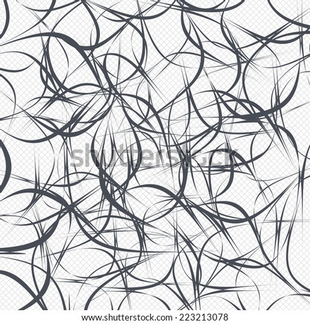 Random lines pattern background. Abstract wallpaper with stripes or curves. Grid lines texture. Cells repeating pattern. White background. Vector - stock vector