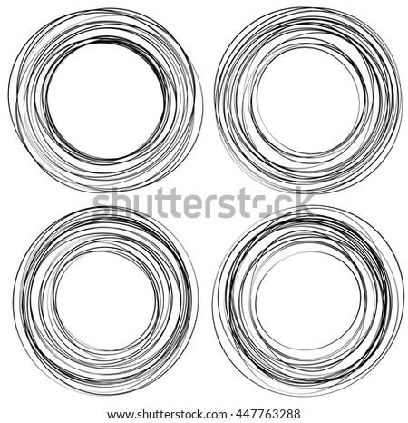 Random scribble circles. Concentric circles in a hand drawn style. Abstract circular elements. - stock vector