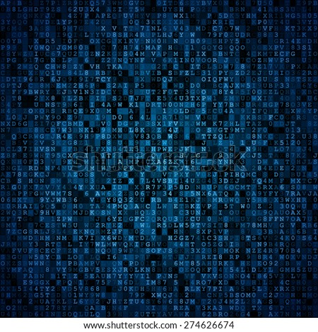 Random symbols blocks encoded data screen. Blue vector background - stock vector