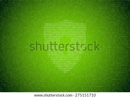 Random symbols. numbers and letters with lock sign - encrypted data vector green background - stock vector