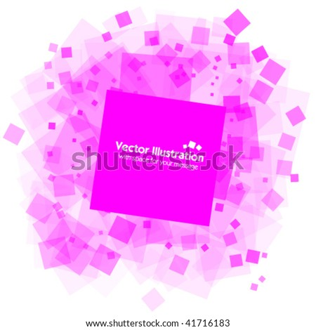 Random transparent pink squares with space for your message - stock vector