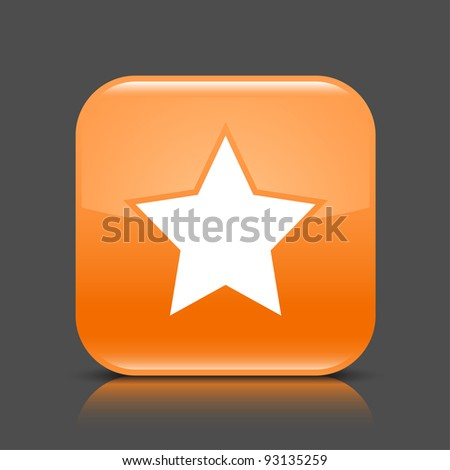 range glossy web button with star sign. Rounded square shape icon with black shadow and colored reflection on dark gray background. This vector illustration created and saved in 8 eps - stock vector