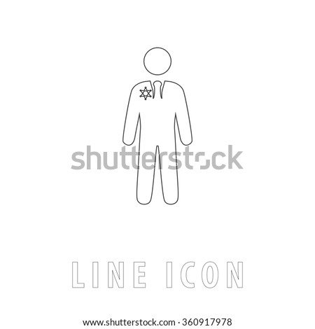 ranger Outline simple vector icon on white background. Line pictogram with text  - stock vector