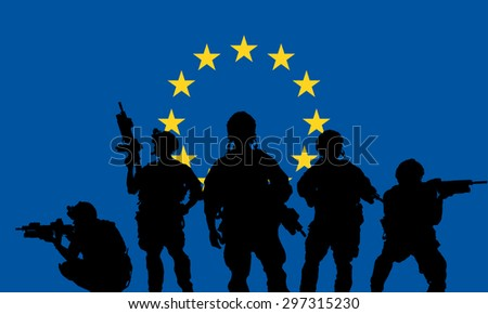 rangers team with rifle on a European Union flag background - stock vector