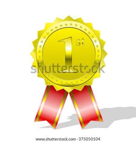 Ranked # 1 certificate with ribbon, vector illustration.