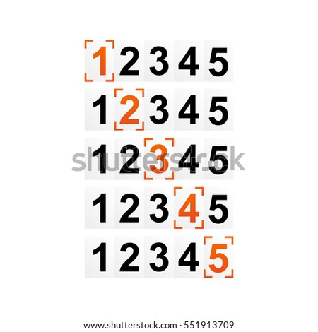 Ranking Figures Numbers Rating Strength Frame Stock Vector 551913709 ...
