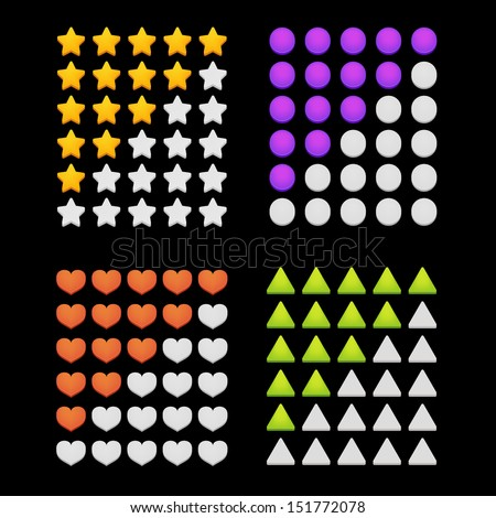 Ranking stars and shapes. Vector illustration - stock vector