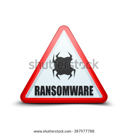 Ransomware Hazard sign - stock vector