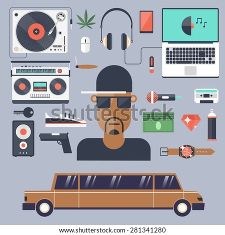 Rap and hip-hop music.Set of flat icons vector illustration. - stock vector