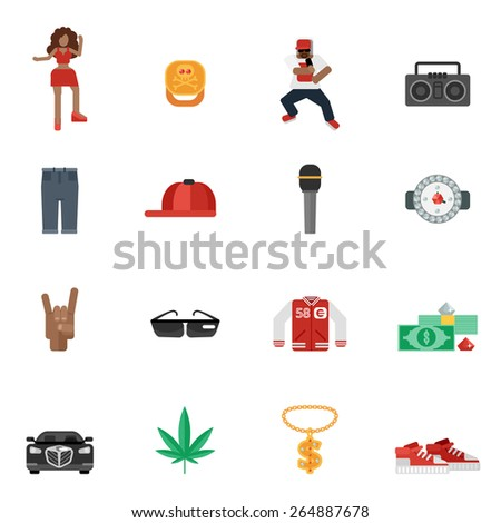 Rap and hip-hop street music flat icons set isolated vector illustration - stock vector