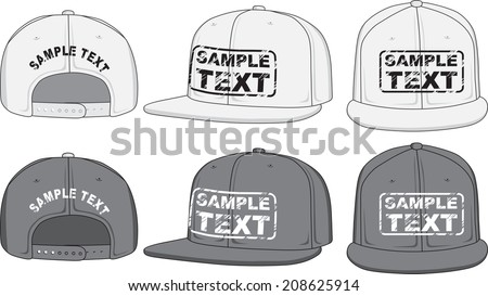 Rap cap, front, back and side view. Vector illustration. Color redact easy. - stock vector