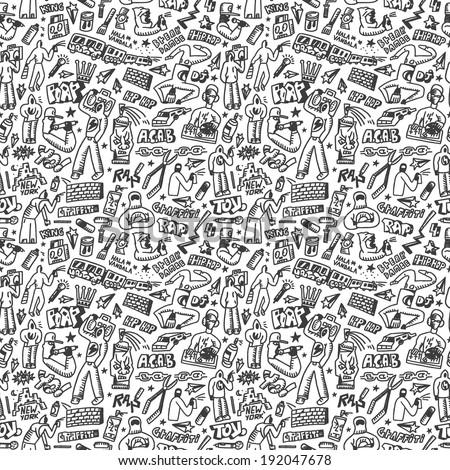 rap,hip hop ,graffiti - seamless background - stock vector